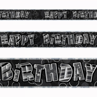 Happy Birthday Banner Black/Silver