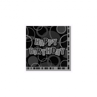 Happy Birthday Napkins Black/Silver (12)