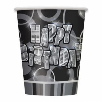 Happy Birthday Cups Black/Silver (6)