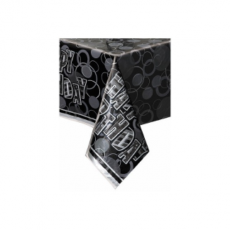 Happy Birthday Rectangle Table Cover Black/Silver