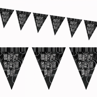 Happy Birthday Bunting Black/Silver