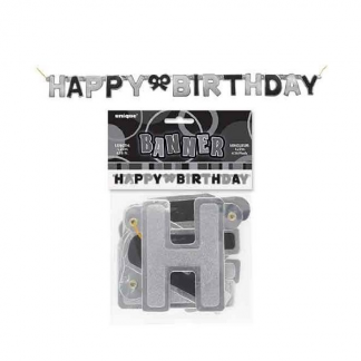 Happy Birthday Jointed Banner Black/Silver