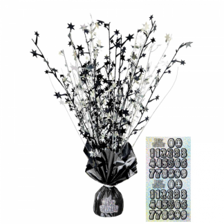 Happy Birthday Centerpiece Black/Silver (stickers for age incl)