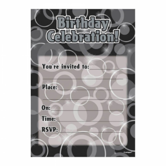 Birthday Invitations Black/Silver