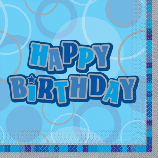 Happy Birthday Napkin Blue/Silver (12)