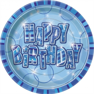 Happy Birthday Paper Plates 9in Blue/Silver (6)