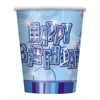 Happy Birthday Cups Blue/Silver (6)