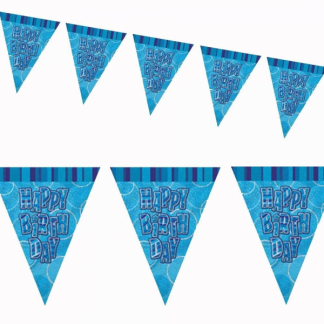 Happy Birthday Bunting Blue/Silver