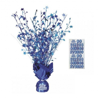Happy Birthday Centerpiece Blue/Silver