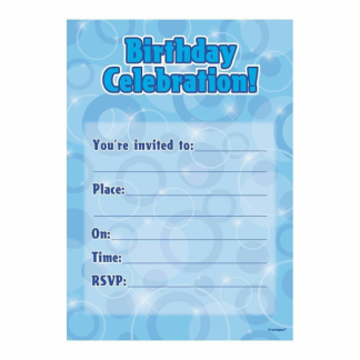 Birthday Invitation Blue/Silver