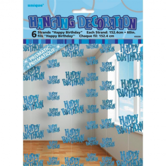 Happy Birthday String Decoration Blue/Silver