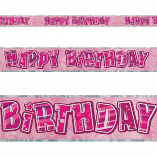 Glitz Happy Birthday Banner Pink/Silver