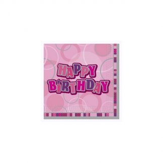 Happy Birthday Napkin Pink/Silver (12)