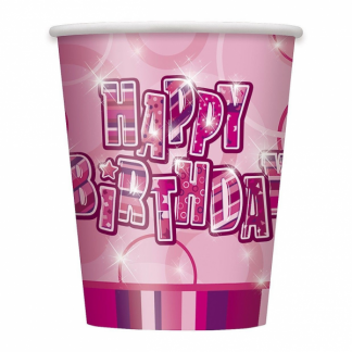 Glitz Happy Birthday Cups Pink/Silver (6)