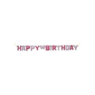 Glitz Happy Birthday Jointed Banner Pink/Silver 1.3m