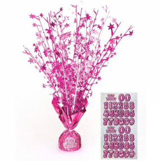 Glitz Happy Birthday Centerpiece Pink/Silver