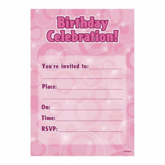 Glitz Birthday Invitation Pink/Silver