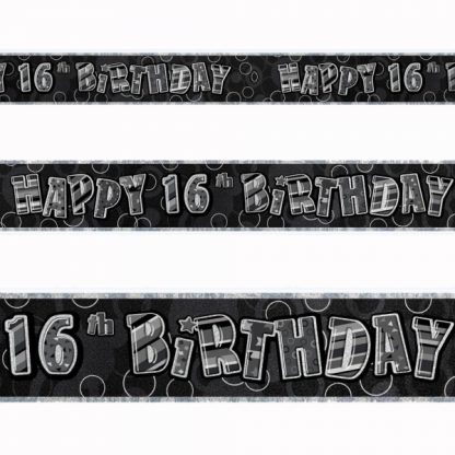 Birthday 16th Banner Black/Silver