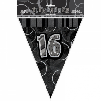 Birthday 16th Bunting Black/Silver