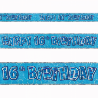 Happy Birthday 16th Banner Blue/Silver