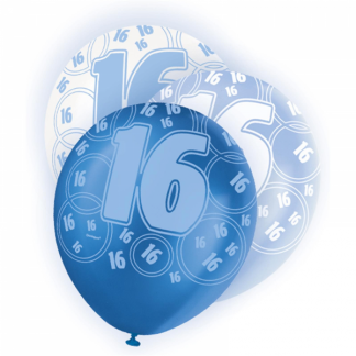 Glitz Birthday 16th Balloons Blue