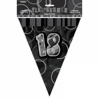 Birthday 18th Bunting Black/Silver