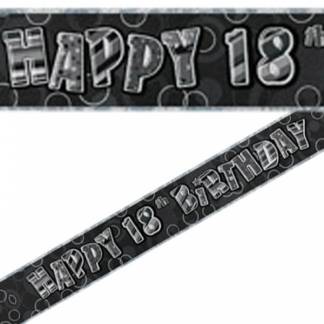 Birthday 18th Banner Black/Silver