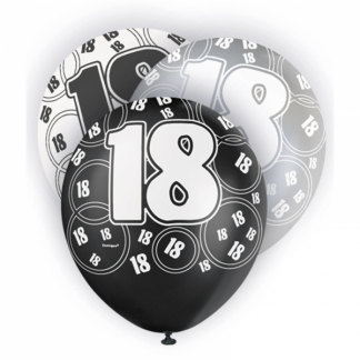 Birthday 18th Balloons Black/Silver