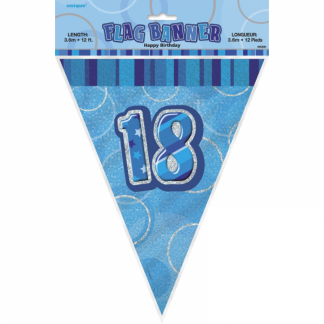 Birthday 18th Bunting Blue/Silver