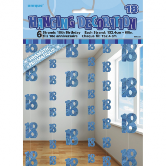 Birthday 18th String Decorations Blue