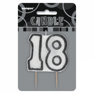 Birthday 18th Candle Black/Silver