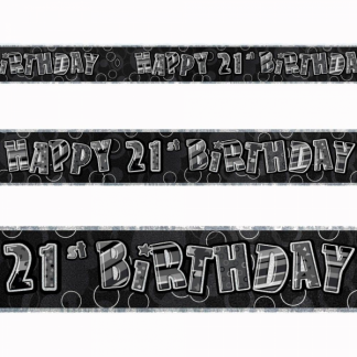 Birthday 21st Banner Black/Silver