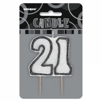 Birthday 21st Candle Black/Silver