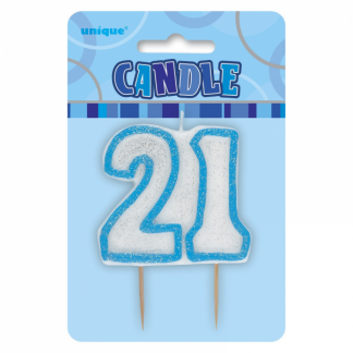 Birthday 21st Candle Blue/Silver