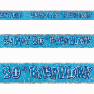 Birthday 30th Banner Blue/Silver