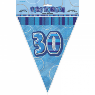 Birthday 30th Bunting Blue/Silver
