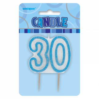 Birthday 30th Candle Blue/Silver