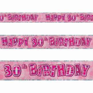Glitz Birthday 30th Banner Pink/Silver