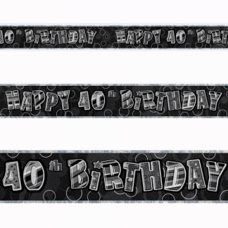 Birthday 40th Banner Black/Silver