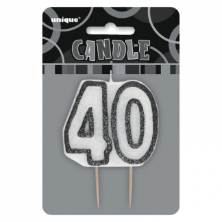 Birthday 40th Candle Black/ Silver