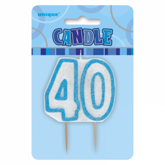 Birthday 40th Candle Blue/Silver