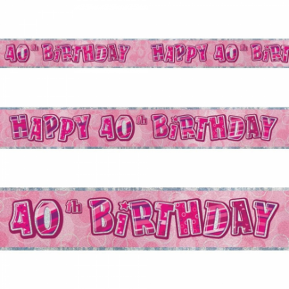 Glitz Birthday 40th Banner Pink/Silver