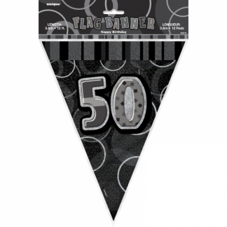 Birthday 50th Bunting Black/Silver