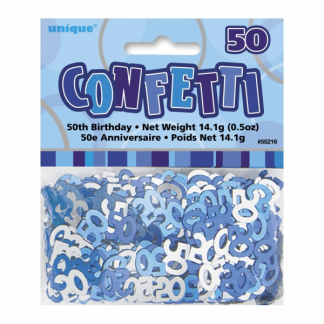 Birthday 50th Confetti Blue/Silver