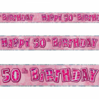 Glitz Birthday 50th Banner Pink/Silver