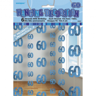 Birthday 60th String Decoration Blue