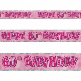 Glitz Birthday 60th Banner Pink/Silver