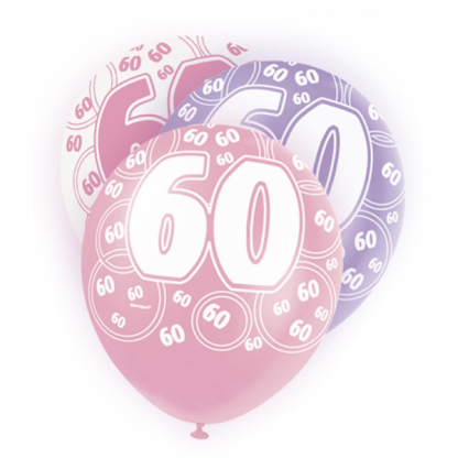Glitz Birthday 60th Balloons Pink