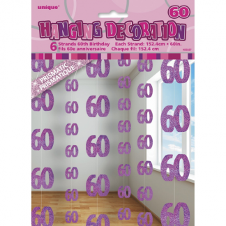 Glitz Birthday 60th String Decoration Pink