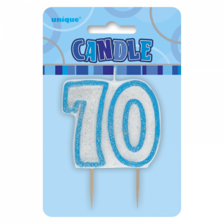 Birthday 70th Candle Blue/Silver